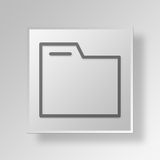 3D Folder Lock Button Icon Concept Royalty Free Stock Photography