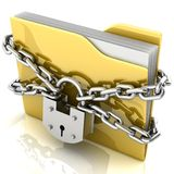 3D folder locked by chains. Isolated over white Royalty Free Stock Photos
