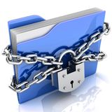 3D folder locked by chains. Isolated over white Royalty Free Stock Image