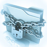3D folder locked by chains. Over white Stock Image