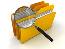 3D Folder with Magnifying Glass. 3D Folders with Magnifying Glass. White Background. 3D rendering Royalty Free Stock Photo