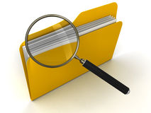 3D Folder with Magnifying Glass. 3D Folders with Magnifying Glass. White Background. 3D rendering Stock Images