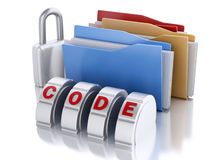 3D folder with padlock and password combination Stock Photography