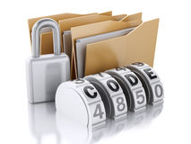 3D folder with padlock and password combination Royalty Free Stock Image