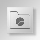 3D  Folder pie chart Button Icon Concept. 3D Symbol Gray Square Folder pie chart Button Icon Concept Royalty Free Stock Photography