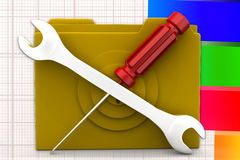 3d Folder Screw Driver Tools illustration Royalty Free Stock Images