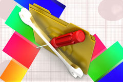 3d Folder Screw Driver Tools illustration Stock Image