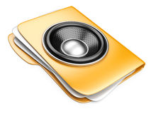 3d folder with speaker. audio-book concept Royalty Free Stock Photo