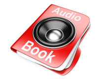3d folder with speaker. audio-book concept Stock Images