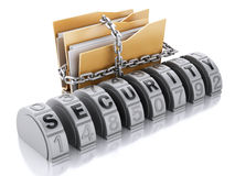 3D folder whith lock chain and combination. 3d Ilustration. Folder with lock chain and combination. Security concept.  background Royalty Free Stock Photo