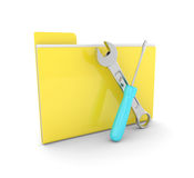 3d folder with wrench and screwdriver isolated on white backgrou Royalty Free Stock Photo