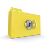 3d folders with lock isolated on white background. Safe files concept Stock Photography