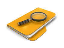 3D Folders with Magnifying Glass. Image with clipping path Royalty Free Stock Image
