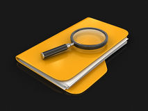 3D Folders with Magnifying Glass. Image with clipping path Stock Photos