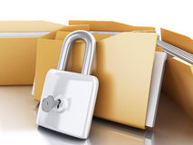 3d Folders with padlock and key. Royalty Free Stock Images