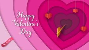 3D fond coloré posé avec les coeurs rouges de papier accrochants, flèche d'or, ruban rose Fond de jour du ` s de Valentine illustration libre de droits