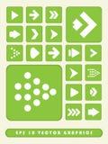 2D Fondo stabilito dell'icona verde della freccia Fotografie Stock Libere da Diritti
