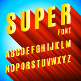 3D Font Alphabet. Full alphabet of 3d extruded letters on blue background Royalty Free Stock Images