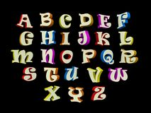 3D font, big colorful letters standing Royalty Free Stock Photos