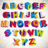 3D font, bold psychedelic colorful alphabet. Stock Photography