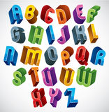 3d font,  colorful glossy letters. Stock Photo
