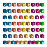 3D font design, Box Alphabet and Number vector Royalty Free Stock Image