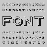 3D font design, shadow alphabet vector, letters and numbers Stock Photos