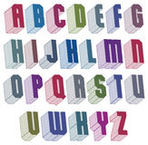3d font with good style, simple shaped geometric letters alphabe Stock Photo