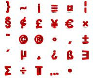 3d font isolated on white background. 3d red font with each character in perspective on a white background Stock Image