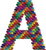 3d font letter A. Colorful three-dimensional font letter A Stock Image