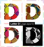 3d font letter D. Colorful three-dimensional font letter D Royalty Free Stock Photos