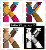 3d font letter K. Colorful three-dimensional font letter K Stock Photography