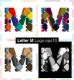 3d font letter M. Colorful three-dimensional font letter M Royalty Free Stock Photography