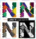 3d font letter N. Colorful three-dimensional font letter N Royalty Free Stock Images