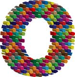 3d font letter o. Colorful three-dimensional font letter o Stock Image