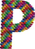 3d font letter P. Colorful three-dimensional font letter P Stock Image