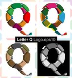 3d font letter Q. Colorful three-dimensional font letter Q Royalty Free Stock Images