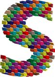 3d font letter s. Colorful three-dimensional font letter s Stock Photo