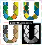 3d font letter U. Colorful three-dimensional font letter U Royalty Free Stock Photos