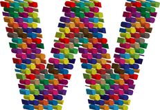 3d font letter w. Colorful three-dimensional font letter w Stock Photos