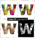 3d font letter W. Colorful three-dimensional font letter W Royalty Free Stock Image