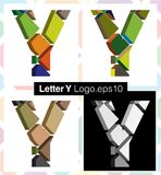 3d font letter Y. Colorful three-dimensional font letter Y Royalty Free Stock Images