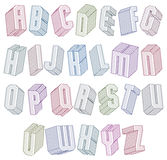 3d font with lines textures, geometric letters alphabet. Stock Photo