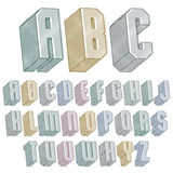 3d font with lines textures, simple shaped geometric letters alp. Habet, great font for design, advertising, web and headlines Royalty Free Stock Images
