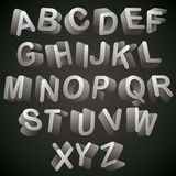 3D font, monochrome alphabet, letters looks best over dark backg Stock Images