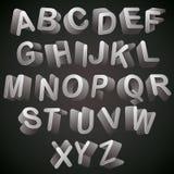 3D font, monochrome alphabet, letters looks best over dark backg. Round, vector Stock Images