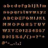 3D Font painted red fainted wood- Full Alphabet  wood- Full Alphabet. Full Alphabet of painted red wood including lower, upper and specal case Royalty Free Stock Photography