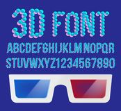 3D Font Pixel Vector. Holographic 3D Effect Font. Stereo Distorted Vision. Illustration. 3D Effect Pixel Stereo Font Vector. Distortion Numerals And Letters Royalty Free Stock Images