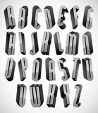 3d font, thin and tall dimensional letters set. Made with round elements, monochrome alphabet for design Stock Photos