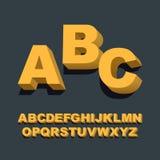 3d font. Three-dimensional alphabet letters. Vector illustration. Stock Photos
